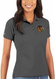 Antigua Chicago Blackhawks Womens Grey Legacy Pique Short Sleeve Polo Shirt