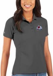 Antigua Colorado Avalanche Womens Grey Legacy Pique Short Sleeve Polo Shirt