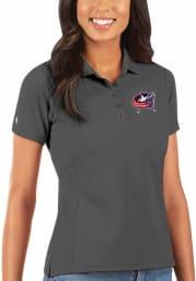 Antigua Columbus Blue Jackets Womens Grey Legacy Pique Short Sleeve Polo Shirt
