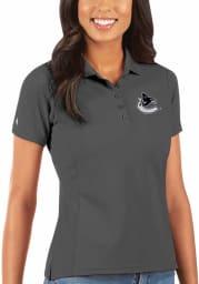 Antigua Vancouver Canucks Womens Grey Legacy Pique Short Sleeve Polo Shirt