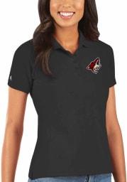 Antigua Arizona Coyotes Womens Black Legacy Pique Short Sleeve Polo Shirt