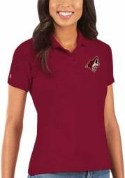 Antigua Arizona Coyotes Womens Red Legacy Pique Short Sleeve Polo Shirt