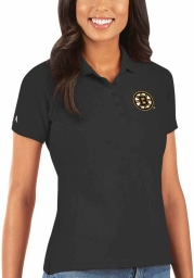 Antigua Boston Bruins Womens Black Legacy Pique Short Sleeve Polo Shirt