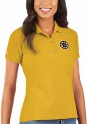 Antigua Boston Bruins Womens Gold Legacy Pique Short Sleeve Polo Shirt