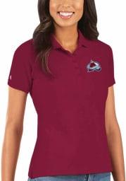 Antigua Colorado Avalanche Womens Red Legacy Pique Short Sleeve Polo Shirt
