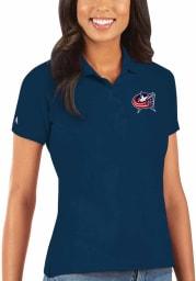 Antigua Columbus Blue Jackets Womens Navy Blue Legacy Pique Short Sleeve Polo Shirt