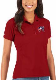 Antigua Columbus Blue Jackets Womens Red Legacy Pique Short Sleeve Polo Shirt