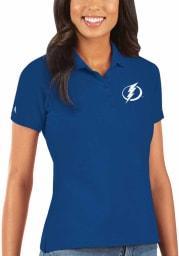 Antigua Tampa Bay Lightning Womens Blue Legacy Pique Short Sleeve Polo Shirt