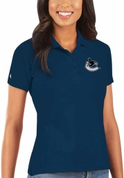 Antigua Vancouver Canucks Womens Navy Blue Legacy Pique Short Sleeve Polo Shirt