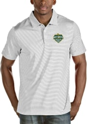 Antigua Baylor Bears Mens White 2021 National Champion Quest Short Sleeve Polo