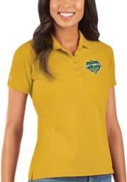 Antigua Baylor Bears Womens Gold 2021 National Champion Legacy Pique Short Sleeve Polo Shirt