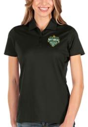 Antigua Baylor Bears Womens Black 2021 National Champion Balance Short Sleeve Polo Shirt