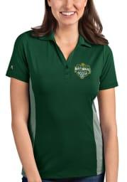 Antigua Baylor Bears Womens Green 2021 National Champion Venture Short Sleeve Polo Shirt