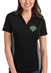 Antigua Baylor Bears Womens Black 2021 National Champion Venture Short Sleeve Polo Shirt