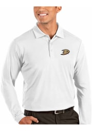 Antigua Anaheim Ducks Mens White Tribute Long Sleeve Polo Shirt