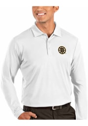 Antigua Boston Bruins Mens White Tribute Long Sleeve Polo Shirt