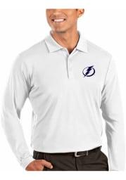 Antigua Tampa Bay Lightning Mens White Tribute Long Sleeve Polo Shirt