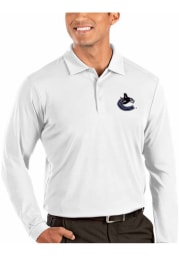 Antigua Vancouver Canucks Mens White Tribute Long Sleeve Polo Shirt