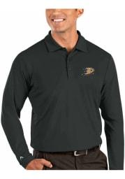 Antigua Anaheim Ducks Mens Grey Tribute Long Sleeve Polo Shirt