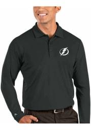 Antigua Tampa Bay Lightning Mens Grey Tribute Long Sleeve Polo Shirt