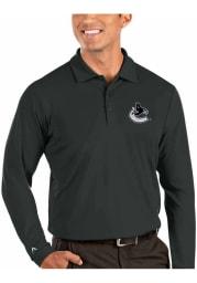 Antigua Vancouver Canucks Mens Grey Tribute Long Sleeve Polo Shirt