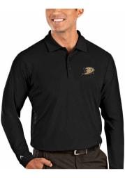 Antigua Anaheim Ducks Mens Black Tribute Long Sleeve Polo Shirt