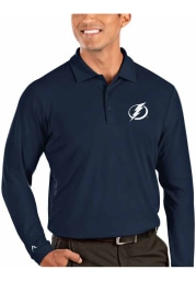Antigua Tampa Bay Lightning Mens Blue Tribute Long Sleeve Polo Shirt