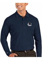 Antigua Vancouver Canucks Mens Navy Blue Tribute Long Sleeve Polo Shirt