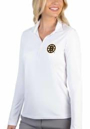 Antigua Boston Bruins Womens White Tribute Long Sleeve Polo Shirt