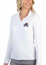 Antigua Colorado Avalanche Womens White Tribute Long Sleeve Polo Shirt