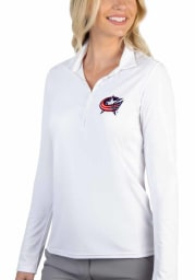 Antigua Columbus Blue Jackets Womens White Tribute Long Sleeve Polo Shirt