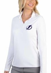 Antigua Tampa Bay Lightning Womens White Tribute Long Sleeve Polo Shirt