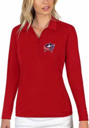 Antigua Columbus Blue Jackets Womens Red Tribute Long Sleeve Polo Shirt