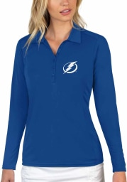 Antigua Tampa Bay Lightning Womens Blue Tribute Long Sleeve Polo Shirt