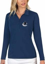 Antigua Vancouver Canucks Womens Navy Blue Tribute Long Sleeve Polo Shirt