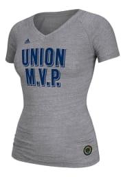 Adidas Philadelphia Union Womens Grey Triblend V-Neck T-Shirt