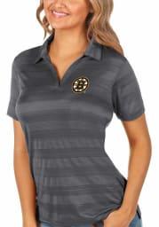 Antigua Boston Bruins Womens Grey Compass Short Sleeve Polo Shirt