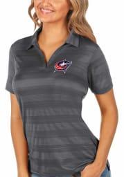 Antigua Columbus Blue Jackets Womens Grey Compass Short Sleeve Polo Shirt