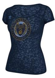 Adidas Philadelphia Union Womens Navy Blue Supersize Fan Burnout Scoop T-Shirt