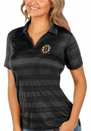 Antigua Boston Bruins Womens Black Compass Short Sleeve Polo Shirt