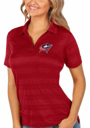 Antigua Columbus Blue Jackets Womens Red Compass Short Sleeve Polo Shirt