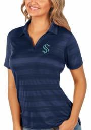 Antigua Seattle Kraken Womens Navy Blue Compass Short Sleeve Polo Shirt