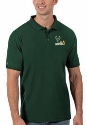Antigua Milwaukee Bucks Mens Green 2021 NBA Finals Champions Legacy Pique Short Sleeve Polo