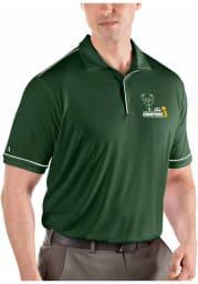 Antigua Milwaukee Bucks Mens Green 2021 NBA Finals Champions Salute Short Sleeve Polo