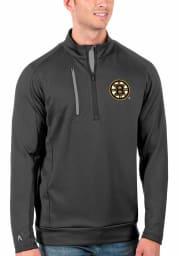 Antigua Boston Bruins Mens Grey Generation Long Sleeve 1/4 Zip Pullover