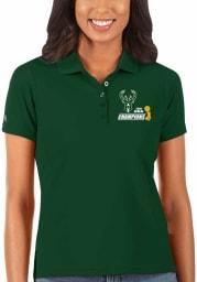 Antigua Milwaukee Bucks Womens Green 2021 NBA Finals Champions Legacy Pique Short Sleeve Polo Shirt
