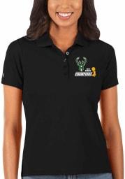 Antigua Milwaukee Bucks Womens Black 2021 NBA Finals Champions Legacy Pique Short Sleeve Polo Shirt