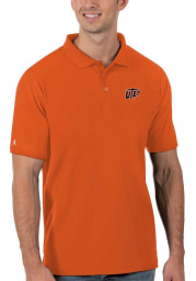 Antigua UTEP Miners Mens Orange Legacy Pique Short Sleeve Polo