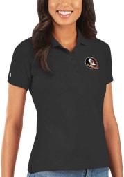 Antigua Florida State Seminoles Womens Black Legacy Pique Short Sleeve Polo Shirt