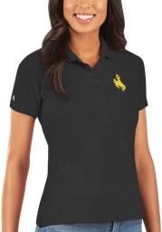 Antigua Wyoming Cowboys Womens Black Legacy Pique Short Sleeve Polo Shirt